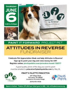 AIR Fundraiser: Paint It Forward Project Pet @ Pinot's Palette Princeton